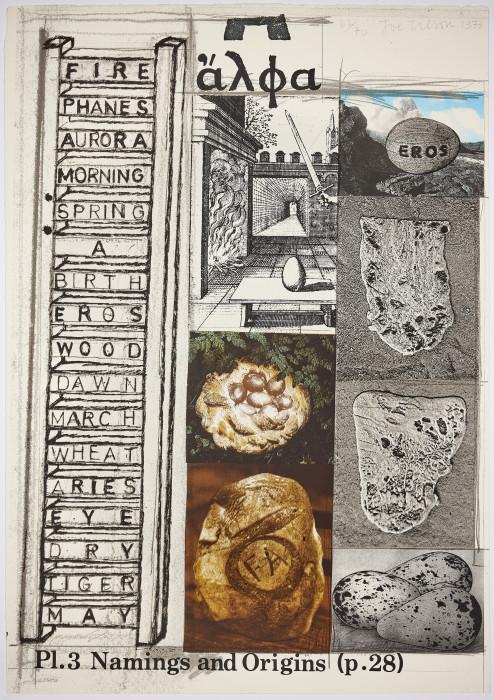 Joe Tilson, Namings and Origins, 1973, screenprint, edition of 70, 40 3-16 x 27 15-16 in., 102 x 71 cm