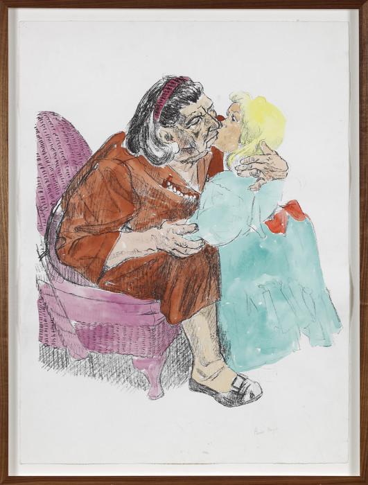 Paula Rego, Grandmother Kissing Grandchild II, 2001-2018, unique hand colored lithograph, 29 7-8 x 2 1-4 in, 76 x 56.5 cm