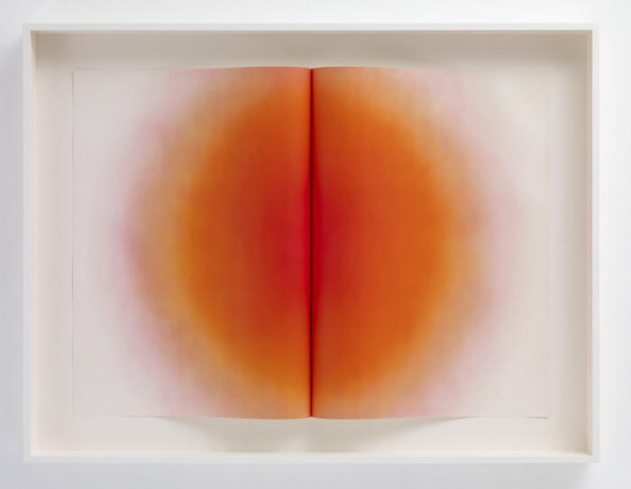 Kapoor, Fold II, Orange, 2014, etching, edition of 20, 47 3-16 x 61 3-4 x 5 2-16 in., 119.8 x 157 x 12.8 cm