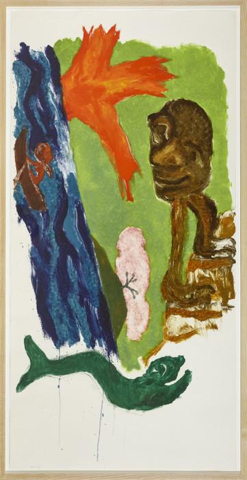 Kiff, Green Fish, Woman Rowing, Man Climbling Steps (A7m), 1996, monotype, 85 x 42 1-8 in., 216 x 107 cm