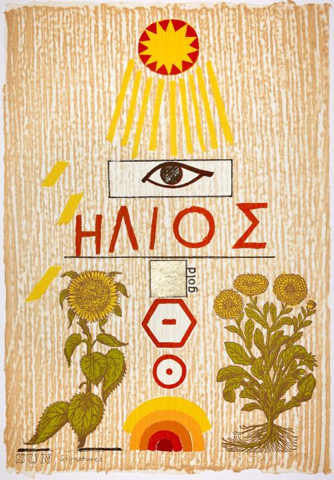 Joe Tilson, Sun Signatures, 1975, screenprint on Japanese paper, edition of 70, 37 13-16 x 27 3-16, 96 x 69 cm