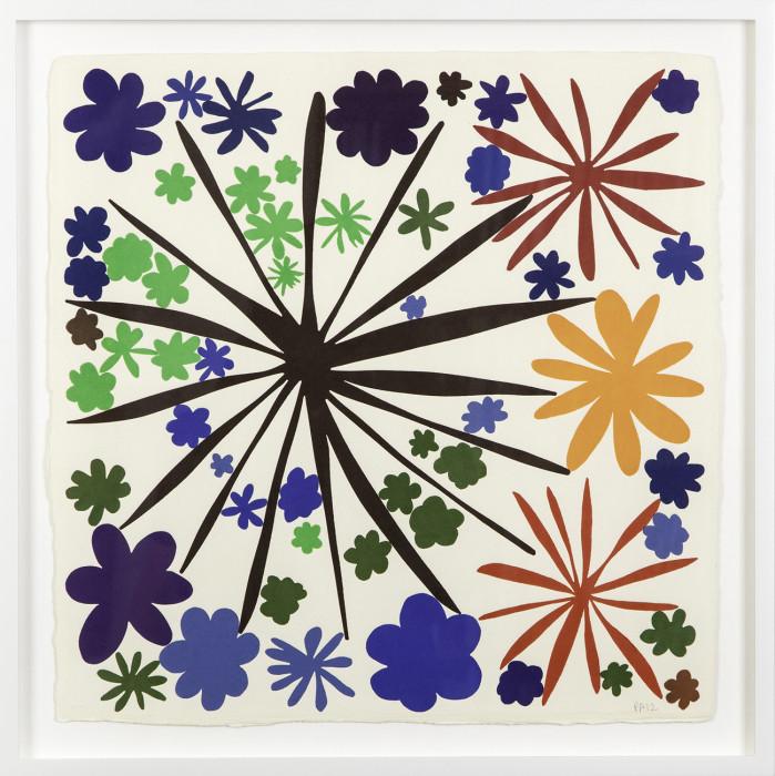 Apfelbaum, Little Love 83, 2012, woodblock, unique, 20 x 20 in., 50.8 x 50.8 cm